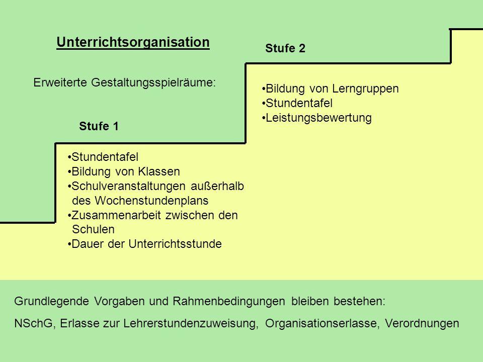 Unterrichtsorganisation Stufe 1 Stufe 2 Bildung von Lerngruppen Stundentafel Leistungsbewertung Erweiterte Gestaltungsspielräume: Stundentafel Bildung