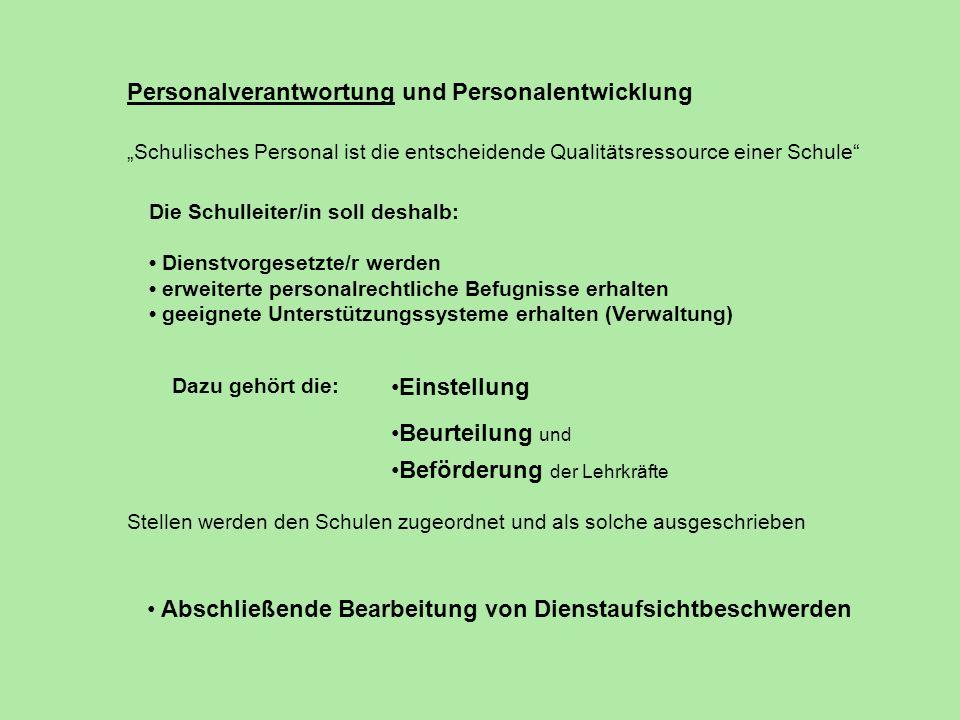 Personalverantwortung und Personalentwicklung Schulisches Personal ist die entscheidende Qualitätsressource einer Schule Die Schulleiter/in soll desha