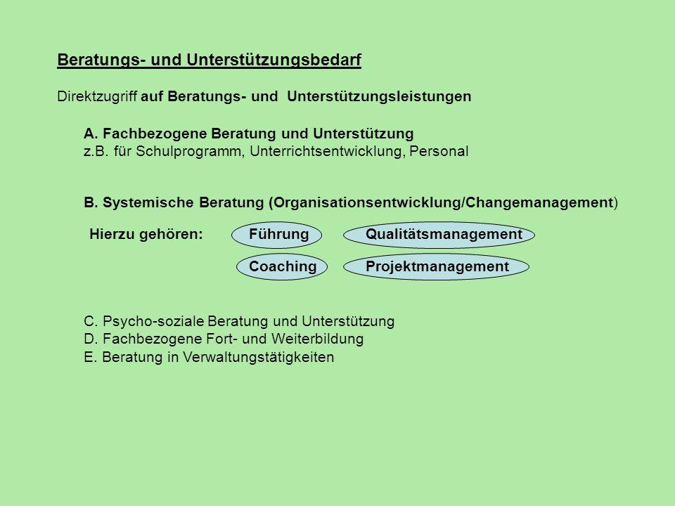 Beratungs- und Unterstützungsbedarf Direktzugriff auf Beratungs- und Unterstützungsleistungen A. Fachbezogene Beratung und Unterstützung z.B. für Schu