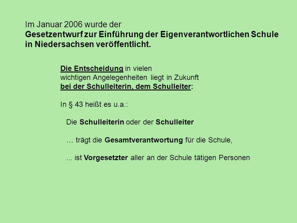 Im Januar 2006 wurde der Gesetzentwurf zur Einführung der Eigenverantwortlichen Schule in Niedersachsen veröffentlicht. Die Entscheidung in vielen wic