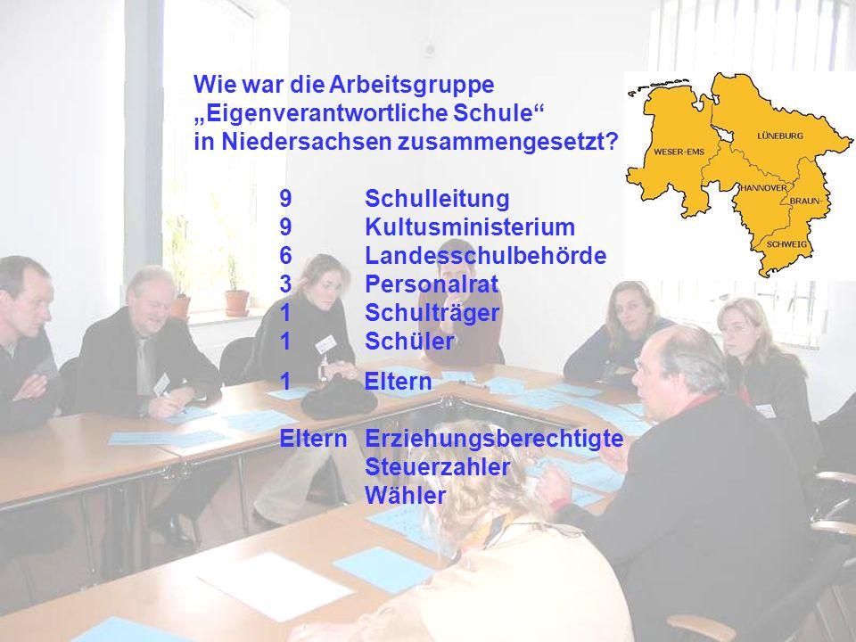 Wie war die Arbeitsgruppe Eigenverantwortliche Schule in Niedersachsen zusammengesetzt? 9Schulleitung 9Kultusministerium 6Landesschulbehörde 3 Persona