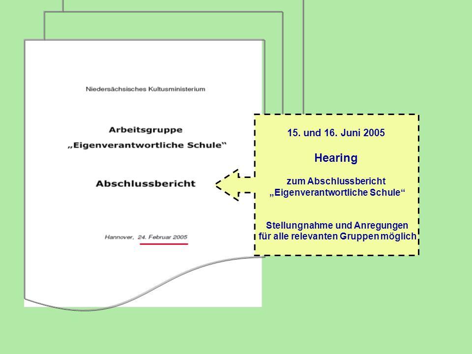15. und 16. Juni 2005 Hearing zum Abschlussbericht Eigenverantwortliche Schule Stellungnahme und Anregungen für alle relevanten Gruppen möglich