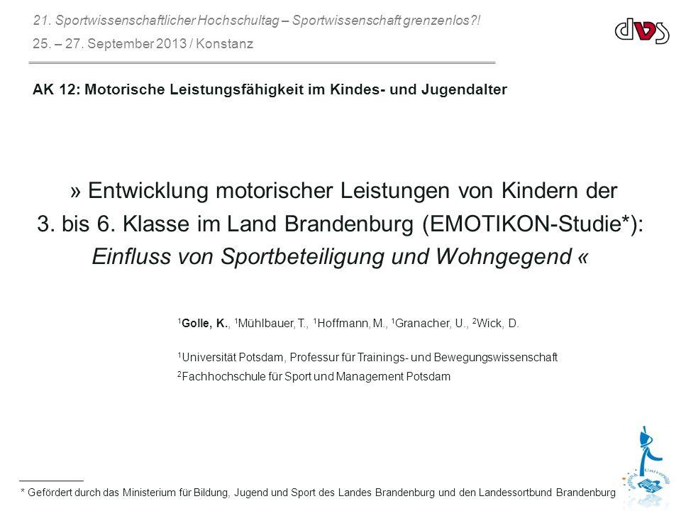 * Gefördert durch das Ministerium für Bildung, Jugend und Sport des Landes Brandenburg und den Landessortbund Brandenburg » Entwicklung motorischer Leistungen von Kindern der 3.