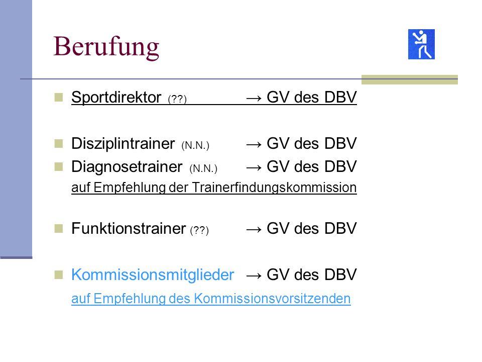 Berufung Sportdirektor (??) GV des DBV Disziplintrainer (N.N.) GV des DBV Diagnosetrainer (N.N.) GV des DBV auf Empfehlung der Trainerfindungskommissi