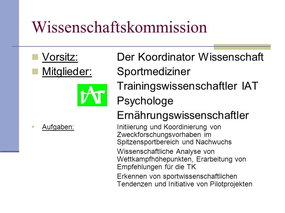 Wissenschaftskommission Vorsitz: Der Koordinator Wissenschaft Mitglieder:Sportmediziner Trainingswissenschaftler IAT Psychologe Ernährungswissenschaft