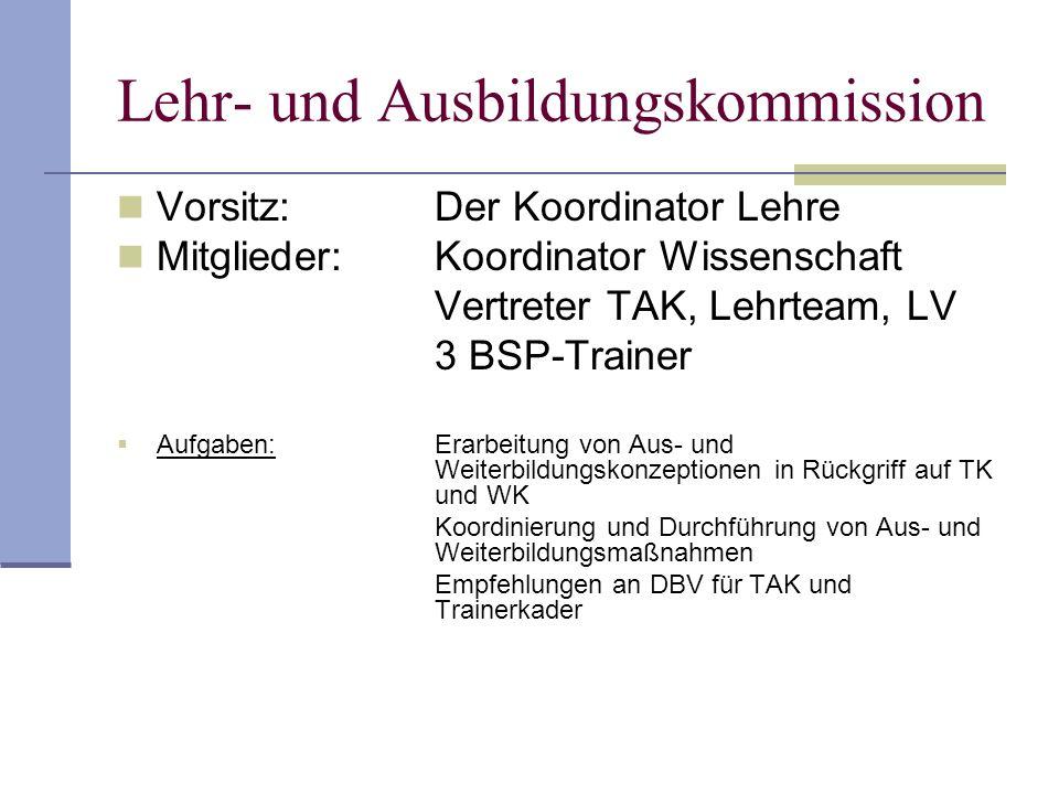 Lehr- und Ausbildungskommission Vorsitz:Der Koordinator Lehre Mitglieder:Koordinator Wissenschaft Vertreter TAK, Lehrteam, LV 3 BSP-Trainer Aufgaben:E