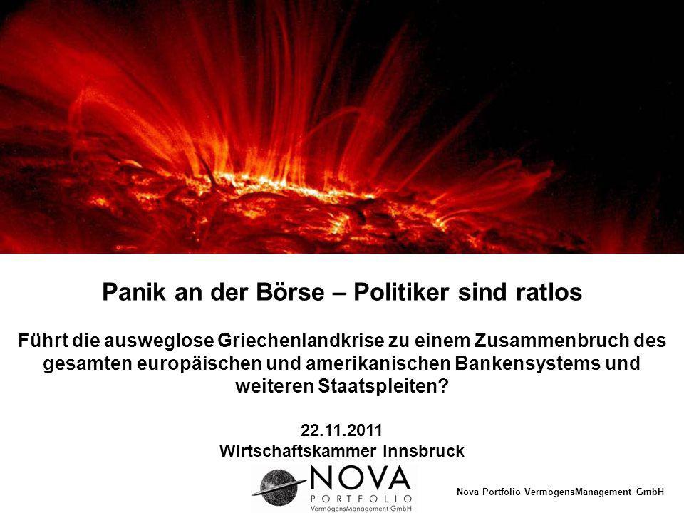 Nova Portfolio VermögensManagement GmbH Die Situation ist äußerst besorgniserregend Griechenlandkrise Auswirkungen auf die europäische Schuldenblase Bankenkollaps Panikwellen an der Börse Europäische Währungsunion (EWU) vor dem Scheitern Entwertung des Euro droht Vorschläge zum Schutz des Vermögens Einleitung 2