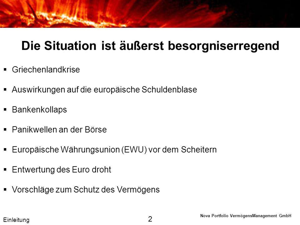 Nova Portfolio VermögensManagement GmbH Europäische Schuldenkrise Staatsverschuldung (EU) Neuverschuldung Wie ist die Schuldenblase entstanden.