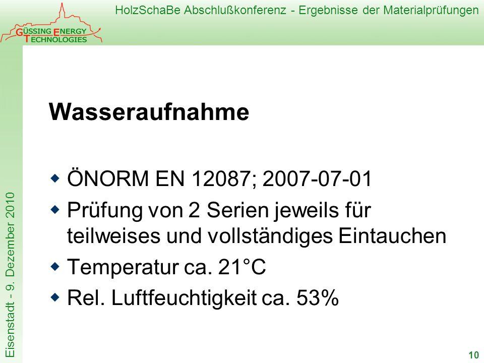 HolzSchaBe Abschlußkonferenz - Ergebnisse der Materialprüfungen Eisenstadt - 9. Dezember 2010 Wasseraufnahme ÖNORM EN 12087; 2007-07-01 Prüfung von 2