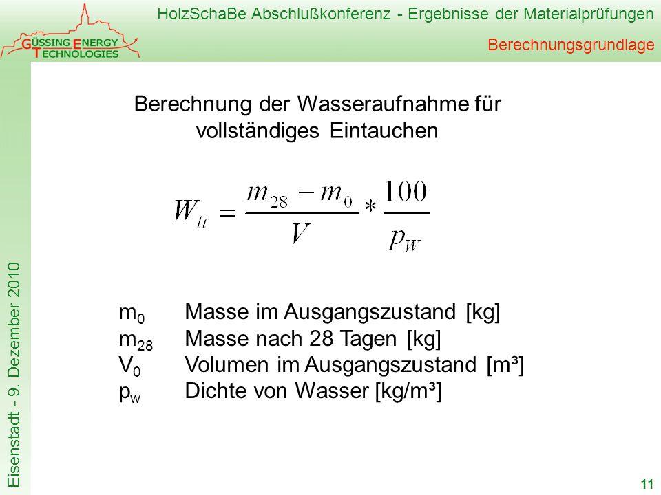 HolzSchaBe Abschlußkonferenz - Ergebnisse der Materialprüfungen Eisenstadt - 9. Dezember 2010 Berechnungsgrundlage 11 m 0 Masse im Ausgangszustand [kg