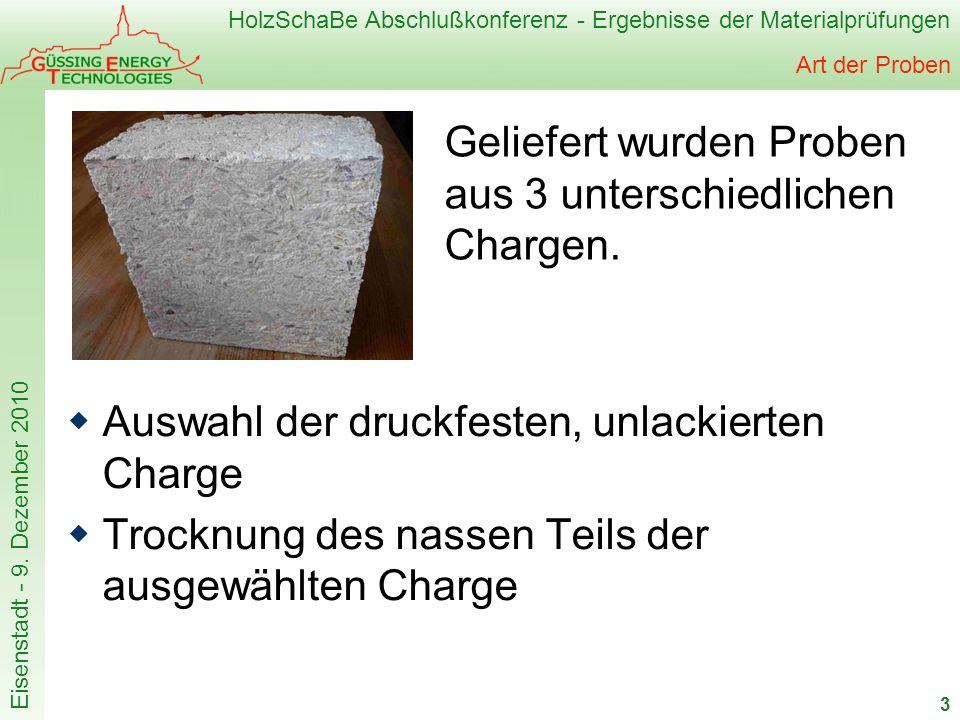 HolzSchaBe Abschlußkonferenz - Ergebnisse der Materialprüfungen Eisenstadt - 9. Dezember 2010 Art der Proben Auswahl der druckfesten, unlackierten Cha