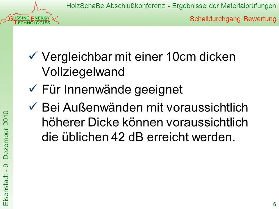 HolzSchaBe Abschlußkonferenz - Ergebnisse der Materialprüfungen Eisenstadt - 9. Dezember 2010 Schalldurchgang Bewertung Vergleichbar mit einer 10cm di