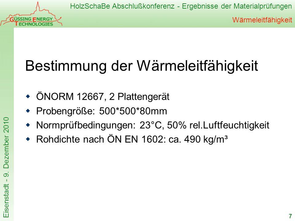 HolzSchaBe Abschlußkonferenz - Ergebnisse der Materialprüfungen Eisenstadt - 9. Dezember 2010 Wärmeleitfähigkeit Bestimmung der Wärmeleitfähigkeit ÖNO