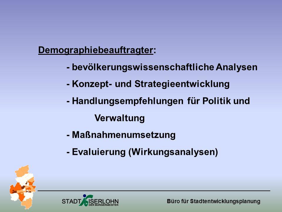 Büro für Stadtentwicklungsplanung Demographiebeauftragter: - bevölkerungswissenschaftliche Analysen - Konzept- und Strategieentwicklung - Handlungsempfehlungen für Politik und Verwaltung - Maßnahmenumsetzung - Evaluierung (Wirkungsanalysen)