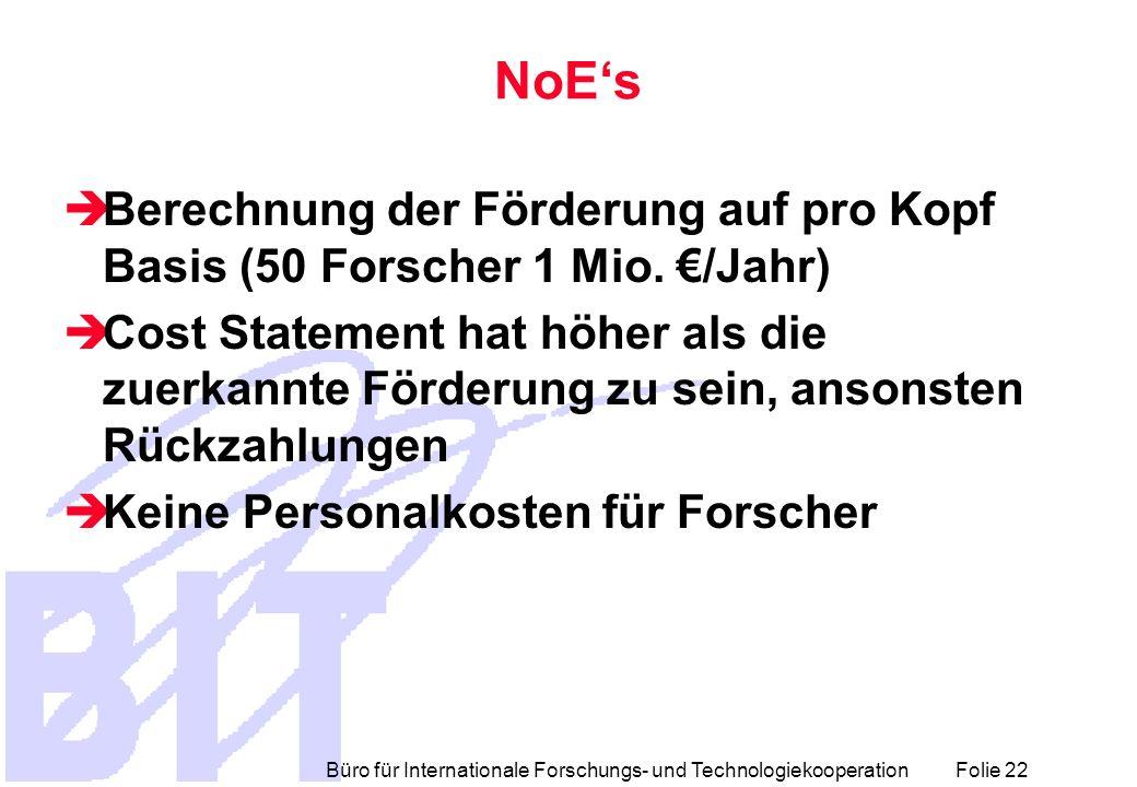 Büro für Internationale Forschungs- und Technologiekooperation Folie 22 NoEs Berechnung der Förderung auf pro Kopf Basis (50 Forscher 1 Mio. /Jahr) Co