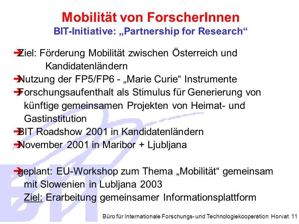 Büro für Internationale Forschungs- und Technologiekooperation Horvat 11 Ziel: Förderung Mobilität zwischen Österreich und Kandidatenländern Nutzung der FP5/FP6 - Marie Curie Instrumente Forschungsaufenthalt als Stimulus für Generierung von künftige gemeinsamen Projekten von Heimat- und Gastinstitution BIT Roadshow 2001 in Kandidatenländern November 2001 in Maribor + Ljubljana geplant: EU-Workshop zum Thema Mobilität gemeinsam mit Slowenien in Lubljana 2003 Ziel: Erarbeitung gemeinsamer Informationsplattform Mobilität von ForscherInnen BIT-Initiative: Partnership for Research