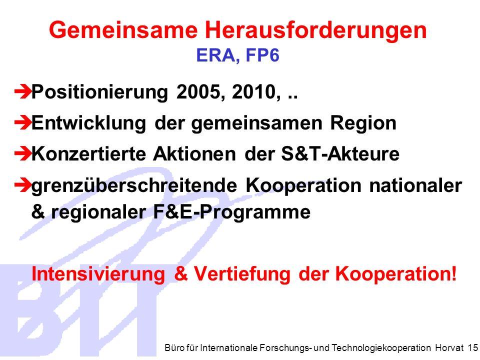 Büro für Internationale Forschungs- und Technologiekooperation Horvat 15 Gemeinsame Herausforderungen ERA, FP6 Positionierung 2005, 2010,..