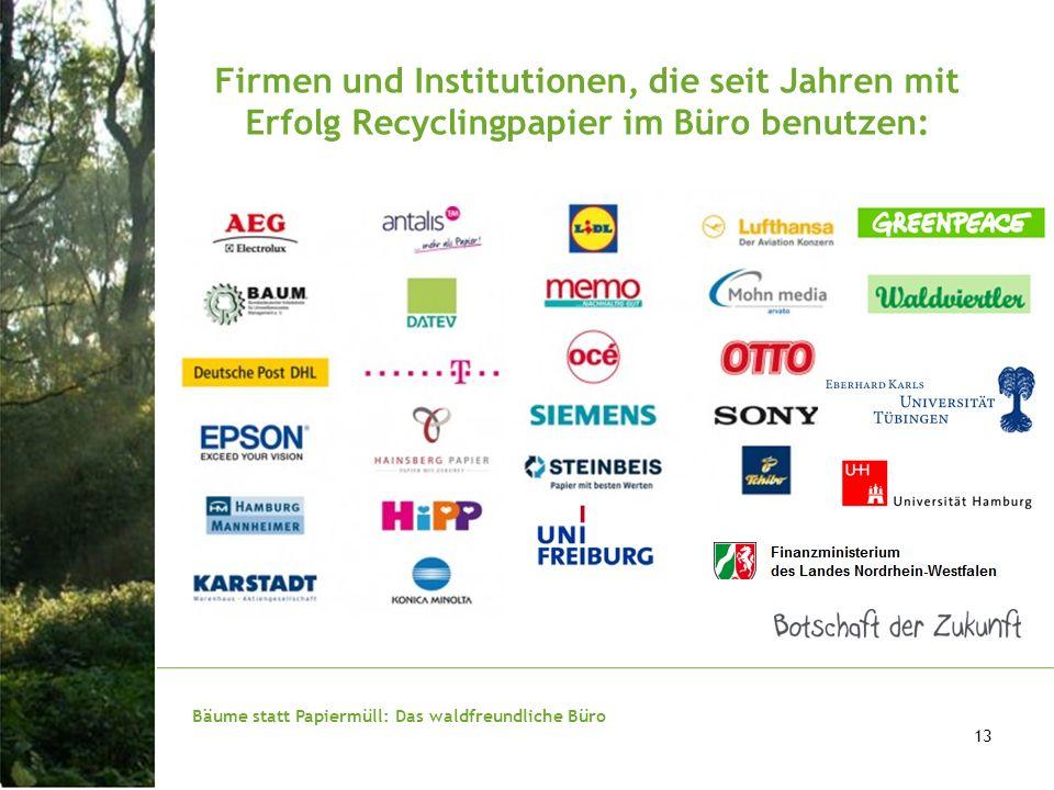 Bäume statt Papiermüll: Das waldfreundliche Büro 13 Firmen und Institutionen, die seit Jahren mit Erfolg Recyclingpapier im Büro benutzen: