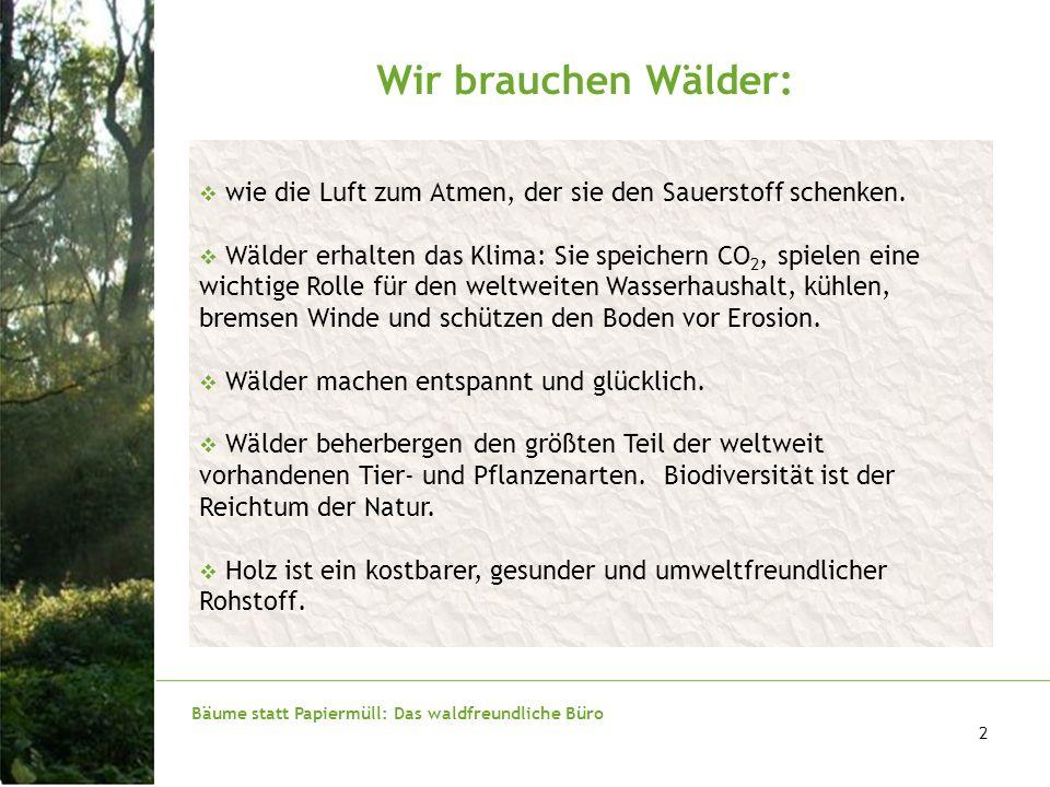 Bäume statt Papiermüll: Das waldfreundliche Büro 3 Die Wälder brauchen uns: wie das CO 2 zur Photosynthese, das wir Menschen und Tiere ausatmen.