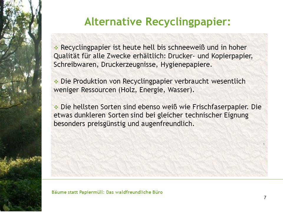 Bäume statt Papiermüll: Das waldfreundliche Büro 8 Gutes Recyclingpapier ist voll gerätetauglich 1 und erfüllt dieselben DIN-Normen wie vergleichbares Frischfaserpapier.