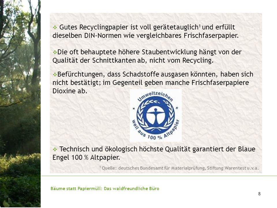 Bäume statt Papiermüll: Das waldfreundliche Büro 9 Alternative FSC-Papier: Im Bereich der Printmedien stehen z.B.