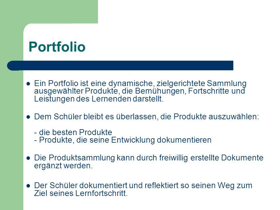 Portfolio Ein Portfolio ist eine dynamische, zielgerichtete Sammlung ausgewählter Produkte, die Bemühungen, Fortschritte und Leistungen des Lernenden