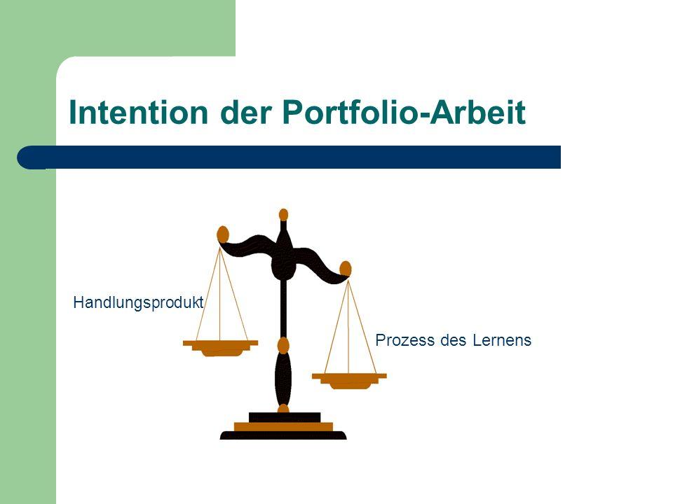 Intention der Portfolio-Arbeit Prozess des Lernens Handlungsprodukt