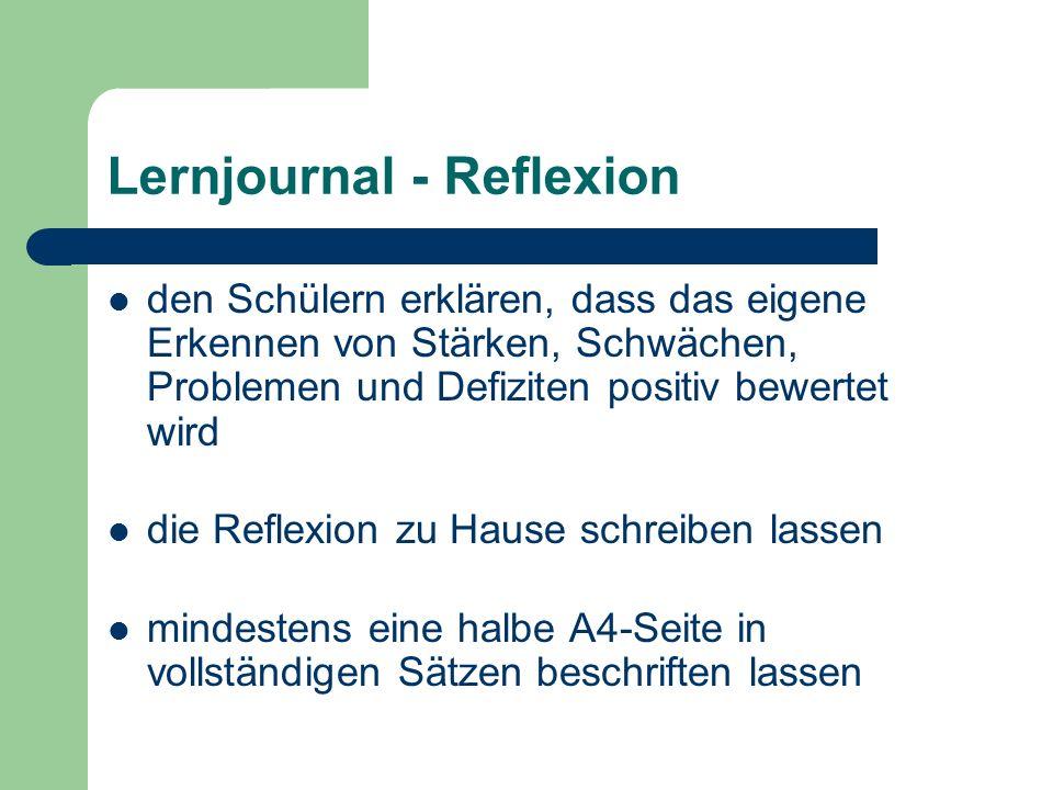 Lernjournal - Reflexion den Schülern erklären, dass das eigene Erkennen von Stärken, Schwächen, Problemen und Defiziten positiv bewertet wird die Refl