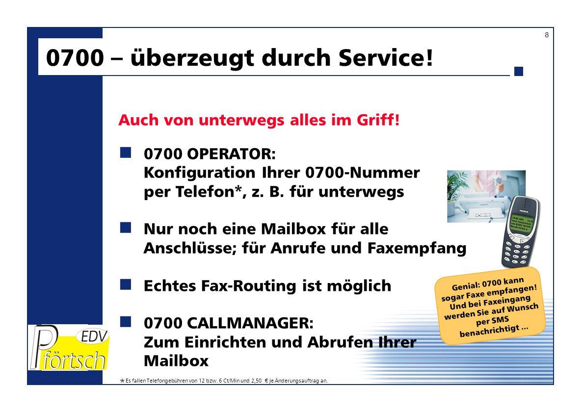 Genial: 0700 kann sogar Faxe empfangen! Und bei Faxeingang werden Sie auf Wunsch per SMS benachrichtigt... 0700 OPERATOR: Konfiguration Ihrer 0700-Num