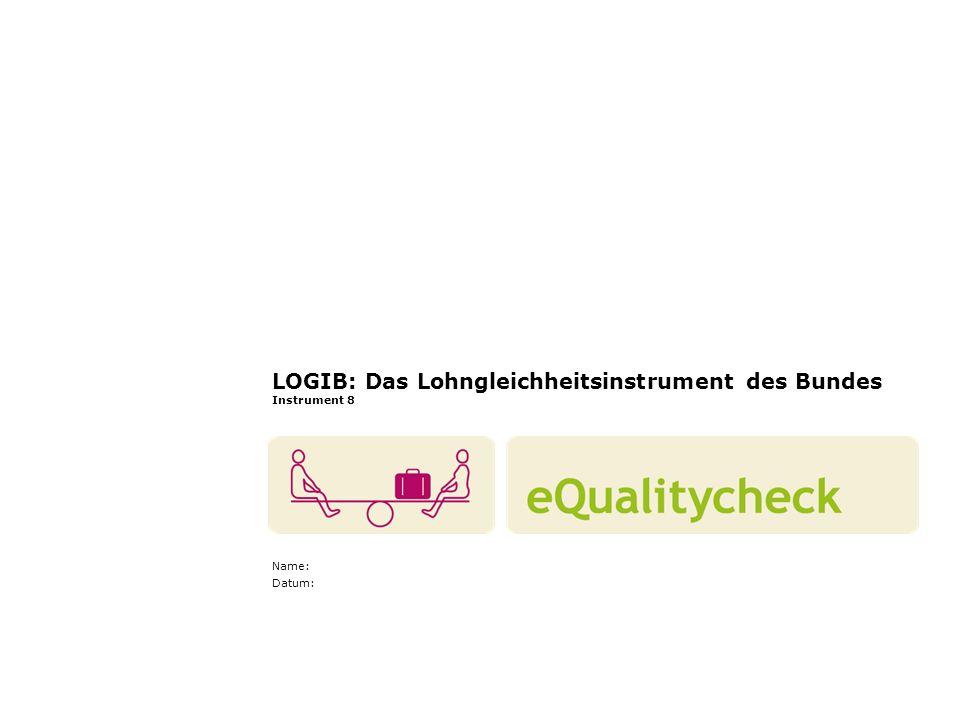 LOGIB: Das Lohngleichheitsinstrument des Bundes Instrument 8 Name: Datum: