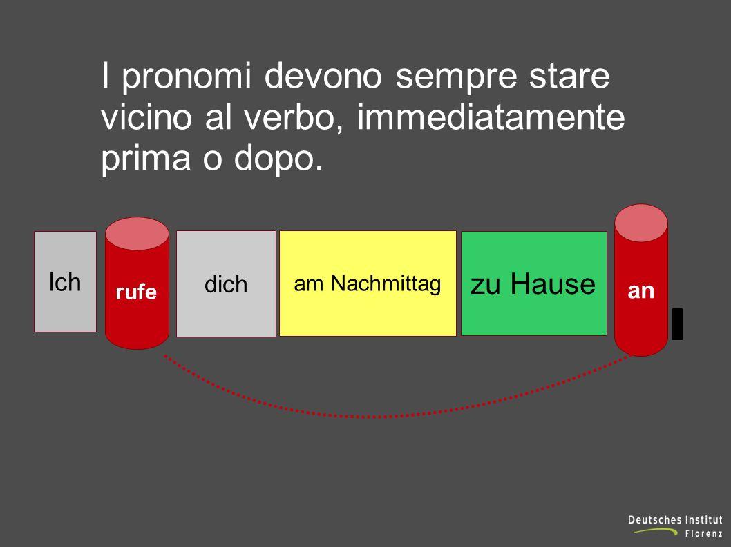 Ich rufe dich am Nachmittag zu Hause an I pronomi devono sempre stare vicino al verbo, immediatamente prima o dopo.