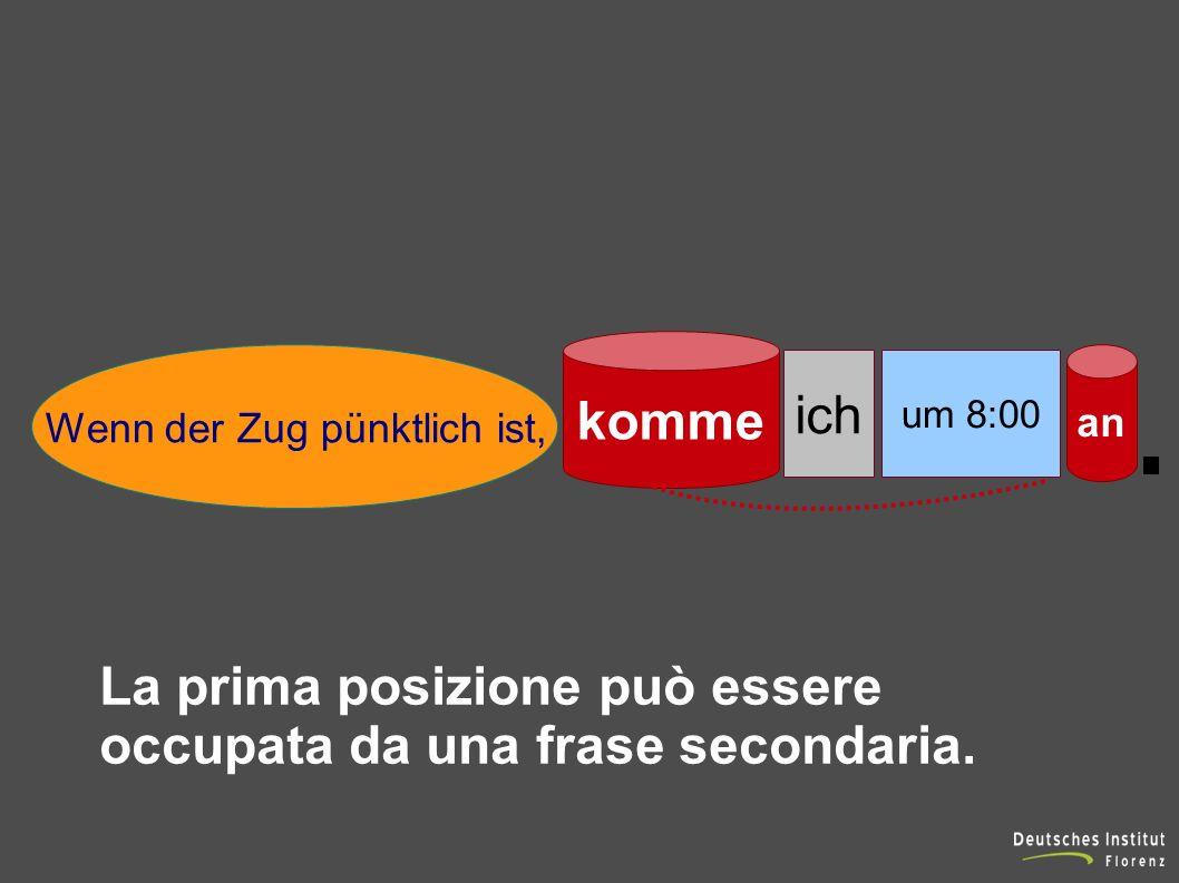 ich komme um 8:00 an Wenn der Zug pünktlich ist, La prima posizione può essere occupata da una frase secondaria.