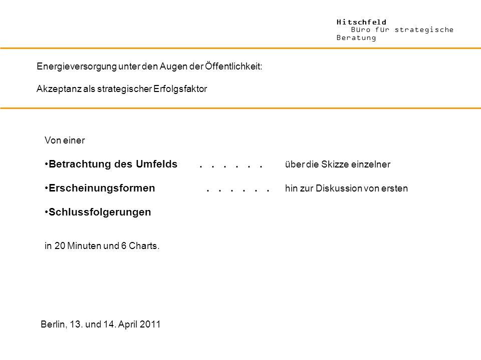 Hitschfeld Büro für strategische Beratung Energieversorgung unter den Augen der Öffentlichkeit: Akzeptanz als strategischer Erfolgsfaktor Berlin, 13.
