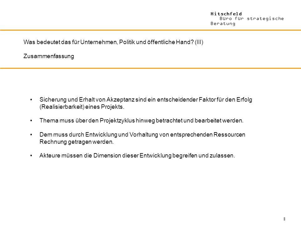 Hitschfeld Büro für strategische Beratung Was bedeutet das für Unternehmen, Politik und öffentliche Hand? (III) Zusammenfassung Sicherung und Erhalt v
