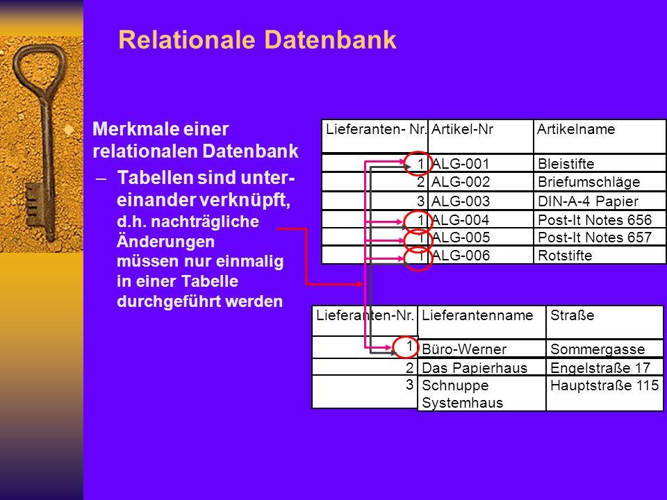 Merkmale einer relationalen Datenbank –Tabellen sind unter- einander verknüpft, d.h.