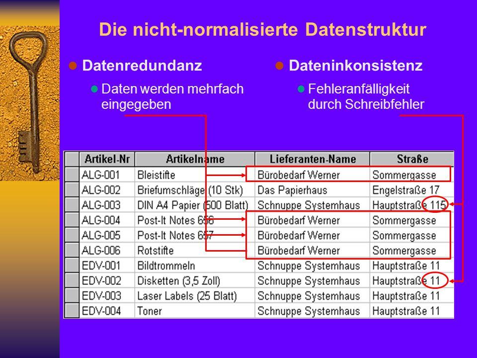 l Datenredundanz l Daten werden mehrfach eingegeben Die nicht-normalisierte Datenstruktur l Dateninkonsistenz l Fehleranfälligkeit durch Schreibfehler