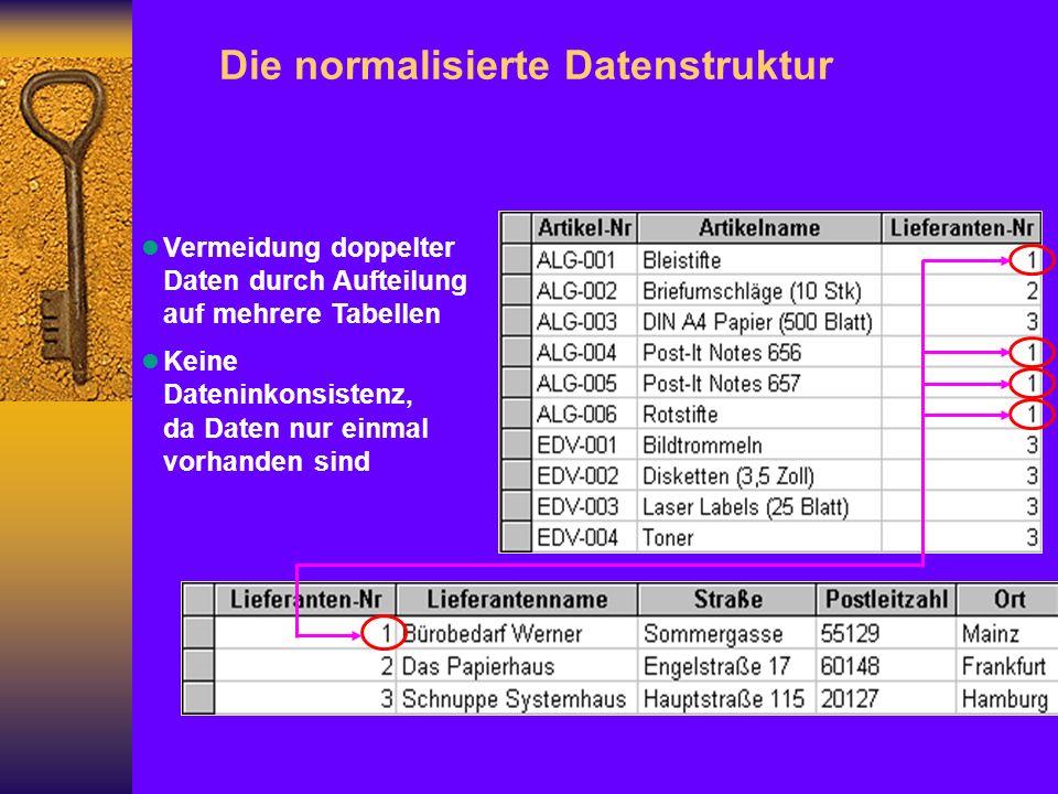 l Vermeidung doppelter Daten durch Aufteilung auf mehrere Tabellen l Keine Dateninkonsistenz, da Daten nur einmal vorhanden sind Die normalisierte Datenstruktur