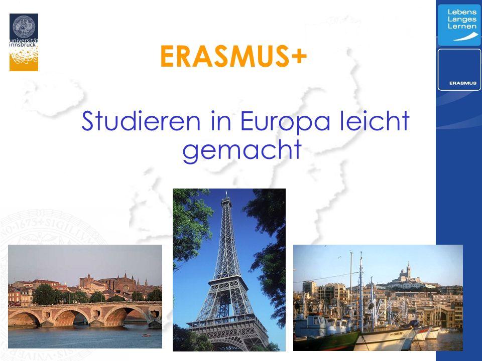 ERASMUS+ Studieren in Europa leicht gemacht