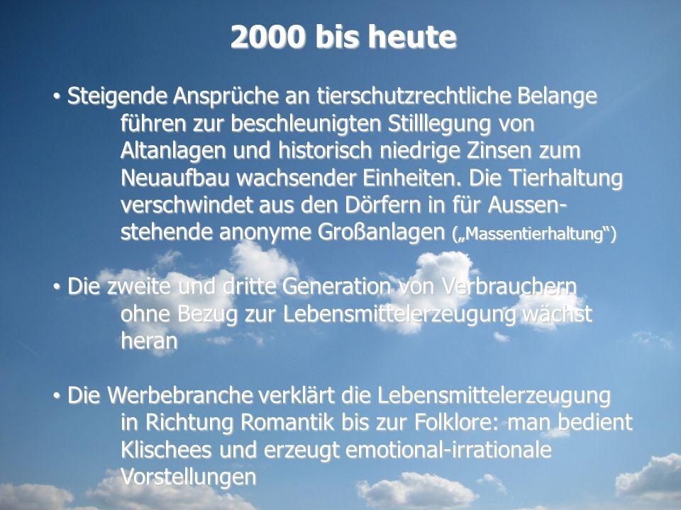 2000 bis heute Steigende Ansprüche an tierschutzrechtliche Belange führen zur beschleunigten Stilllegung von Altanlagen und historisch niedrige Zinsen