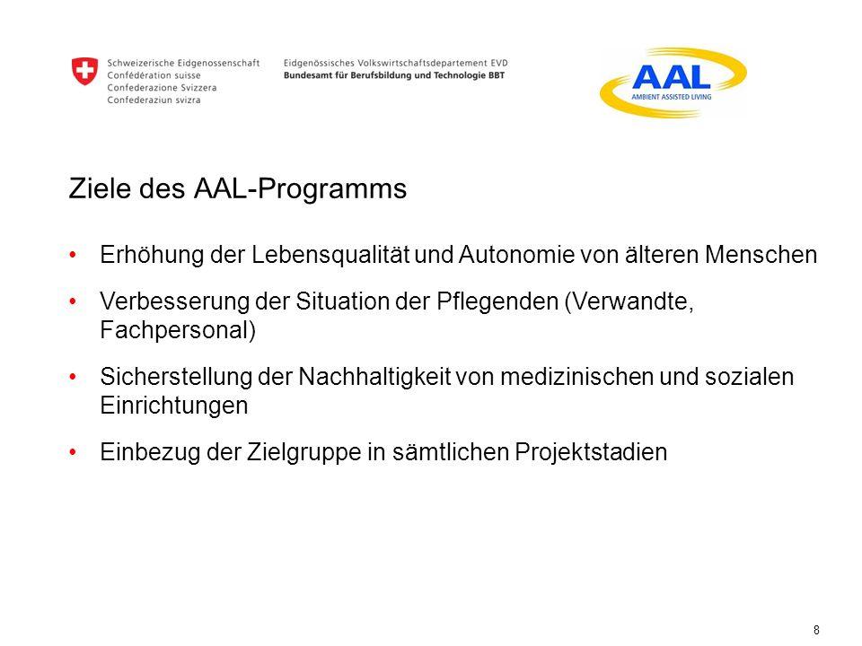 Ziele des AAL-Programms 8 Erhöhung der Lebensqualität und Autonomie von älteren Menschen Verbesserung der Situation der Pflegenden (Verwandte, Fachper