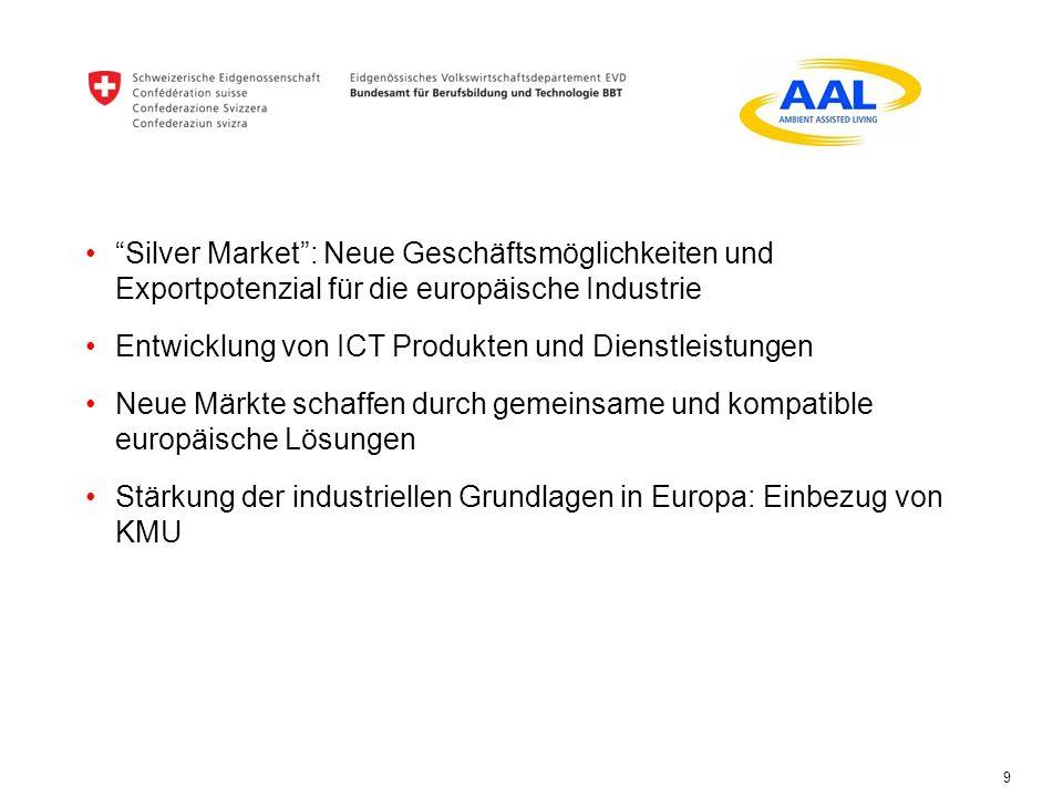9 Silver Market: Neue Geschäftsmöglichkeiten und Exportpotenzial für die europäische Industrie Entwicklung von ICT Produkten und Dienstleistungen Neue