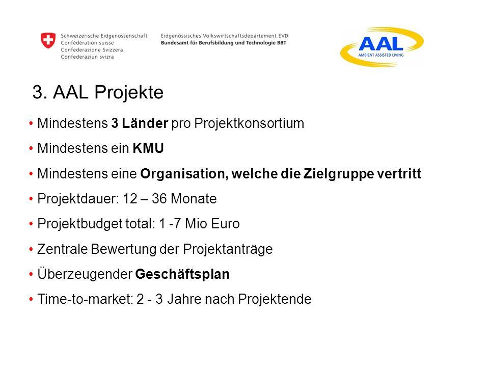 3. AAL Projekte Mindestens 3 Länder pro Projektkonsortium Mindestens ein KMU Mindestens eine Organisation, welche die Zielgruppe vertritt Projektdauer