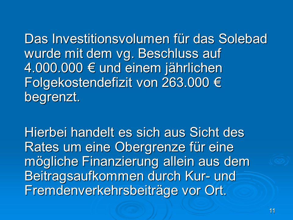 11 Das Investitionsvolumen für das Solebad wurde mit dem vg. Beschluss auf 4.000.000 und einem jährlichen Folgekostendefizit von 263.000 begrenzt. Hie