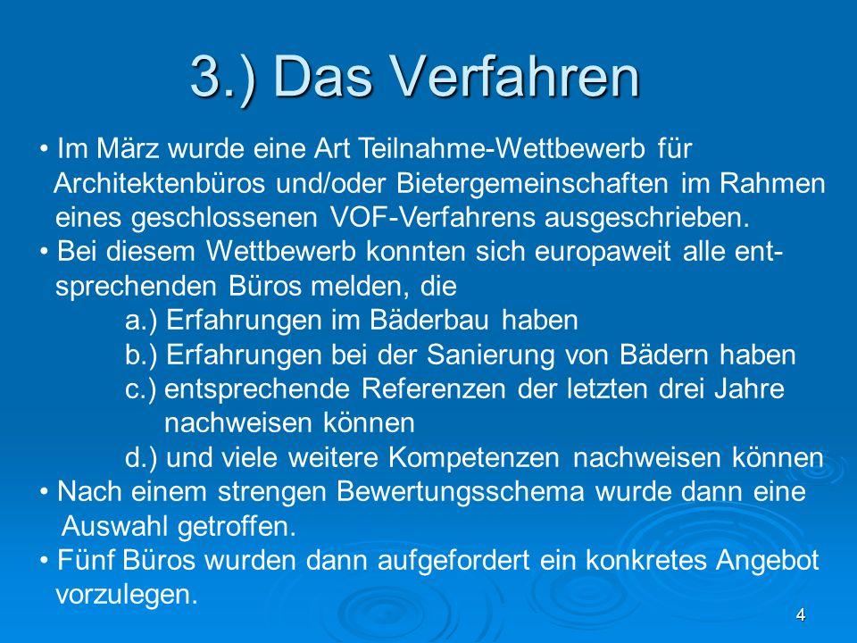 4 3.) Das Verfahren Im März wurde eine Art Teilnahme-Wettbewerb für Architektenbüros und/oder Bietergemeinschaften im Rahmen eines geschlossenen VOF-V