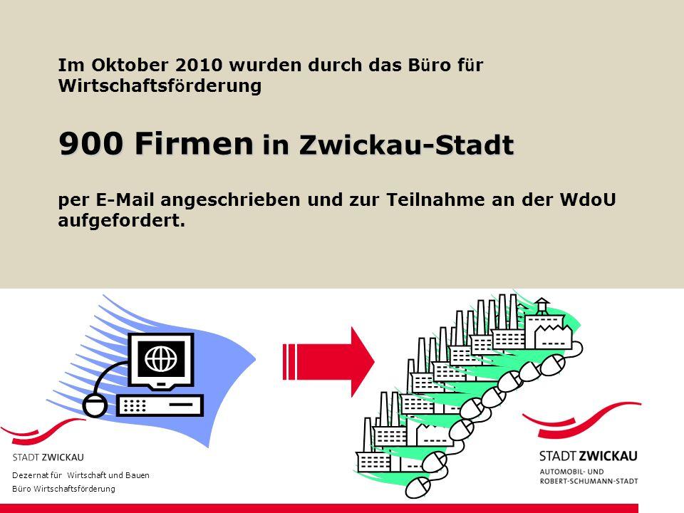 Im Oktober 2010 wurden durch das B ü ro f ü r Wirtschaftsf ö rderung 900 Firmen in Zwickau-Stadt per E-Mail angeschrieben und zur Teilnahme an der WdoU aufgefordert.