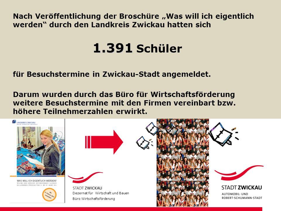 Nach Veröffentlichung der Broschüre Was will ich eigentlich werden durch den Landkreis Zwickau hatten sich 1.391 1.391 Schüler für Besuchstermine in Z