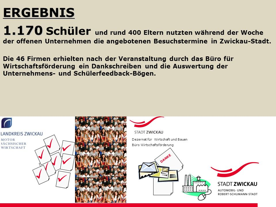 ERGEBNIS 1.170 1.170 Schüler und rund 400 Eltern nutzten während der Woche der offenen Unternehmen die angebotenen Besuchstermine in Zwickau-Stadt.