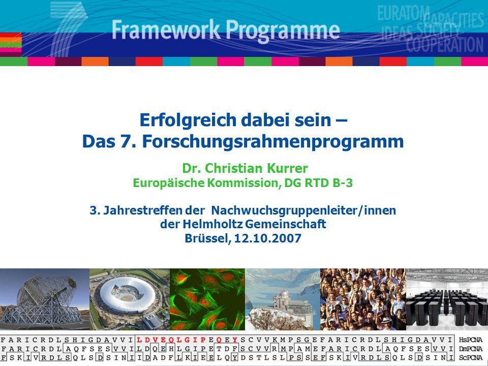 Erfolgreich dabei sein – Das 7. Forschungsrahmenprogramm Dr. Christian Kurrer Europäische Kommission, DG RTD B-3 3. Jahrestreffen der Nachwuchsgruppen