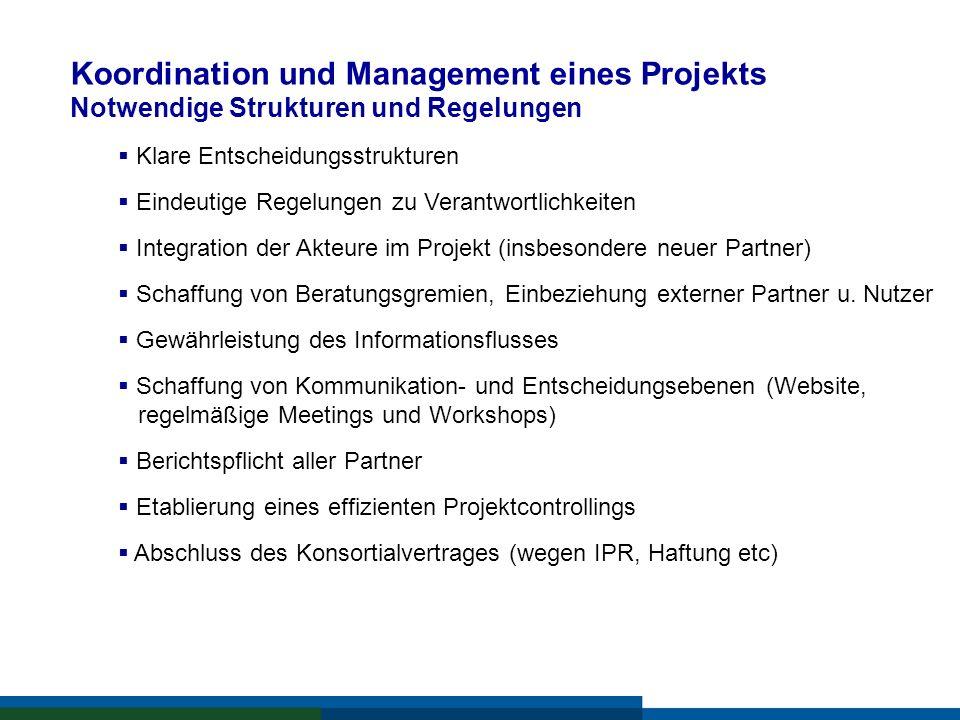 Koordination und Management eines Projekts Notwendige Strukturen und Regelungen Klare Entscheidungsstrukturen Eindeutige Regelungen zu Verantwortlichk