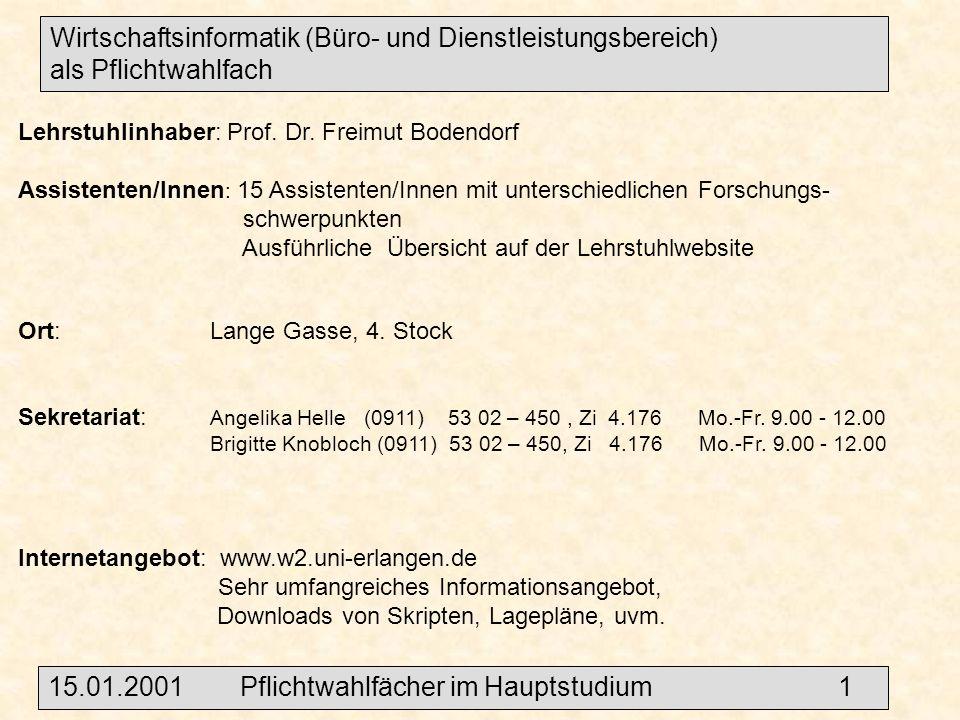 Wirtschaftsinformatik (Büro- und Dienstleistungsbereich) als Pflichtwahlfach Lehrstuhlinhaber: Prof.